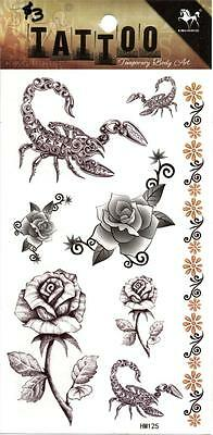 Temporary Tattoo Roses Scorpions Ladies Body Art Removable