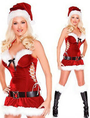 Christmas Costume Ladies Sexy Miss Santa Christmas Fancy Dress Outfit