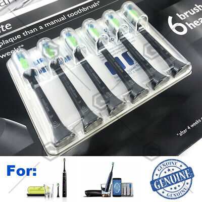 Black 6Pack Philips Sonicare Diamond Clean Replacement Toothbrush Heads Set-EXP