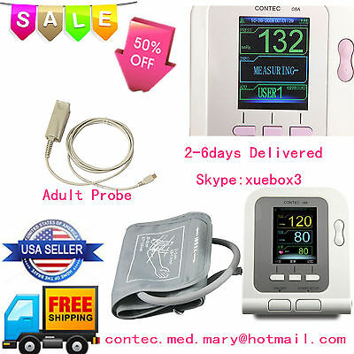 US Seller Blood pressure monitor CONTEC08A,NIBP+Spo2 probe+cuff,CE FDA,Promotion