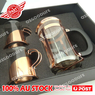 French Press Coffee Plunger Glass 600ml Tea Coffee Maker 2 cups set rose golden