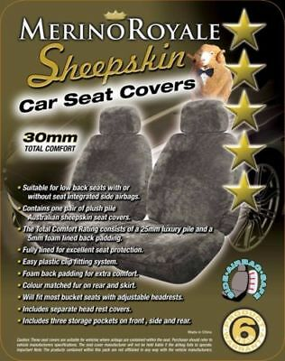 Sheepskin Car Seatcovers 30mm TC, 5 Colours Available, Seat Air bag Compatable