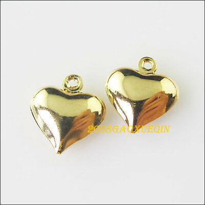 10 New Charms Heart Champagne Gold Pendants for DIY Crafts 11.5x13mm