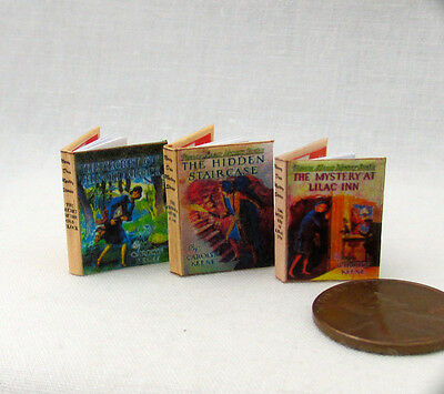 NANCY DREW MYSTERIES SET (3) Miniature Books Dollhouse 1:12 Scale Books