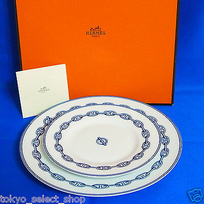 "Auth Hermes Porcelaine Navy White Chaine D'Ancre Plate 2 Set 6.3"" & 8.8"" Good!"