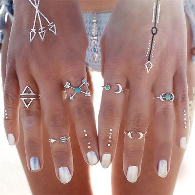 6 pcs/set Silver Plated Above Knuckle Band Mid Midi Ring Tip Finger Stacking