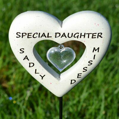 Sadly Missed Daughter Love Heart Memorial Tribute Stick Graveside Plaque