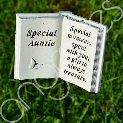 Special Auntie Memorial Book Tribute Stick with Message Grave Graveside Plaque