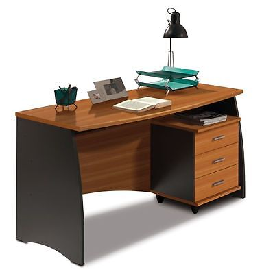 Primo Computer Study Desk with 3 Drawers Office Furniture 140cm Grey + Chestnut