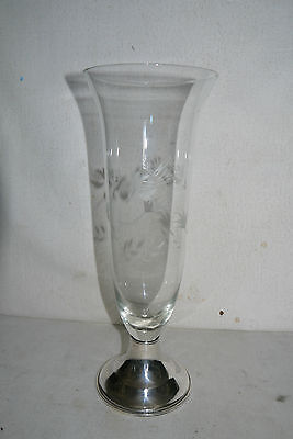 Vtg Cut & Etched Tall Glass Vase With Newport Sterling Weighted Base