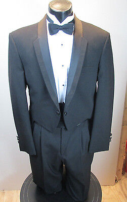 Vintage Black Tails Tuxedo Christian Dior Notch Lapel 4Pc 2 Button 40L T-15