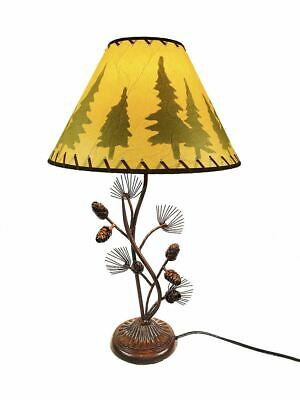 Western Metal Pine Cone Desk Table Lamp Rustic Country Style - Home / Office