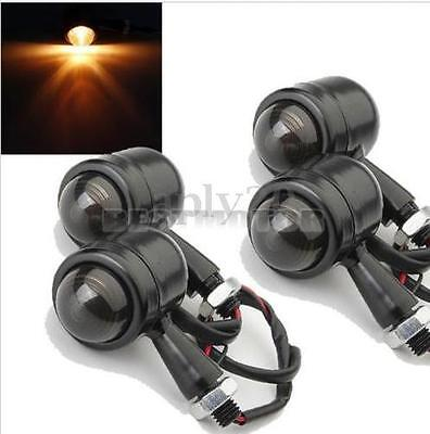 4x Smoked Motorcycle Turn Signal Indicator Light For Harley Bobber Cafe Racer