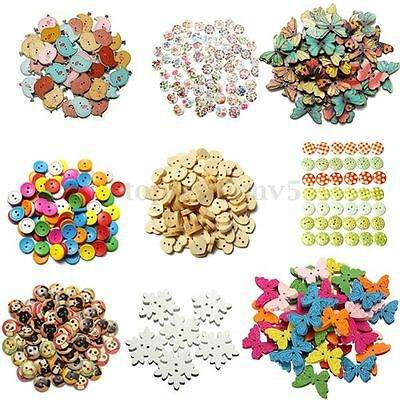 10~100x Bottoni Rotondo  Wooden Snowflake Butterfly Cat Buttons Sewing DIY