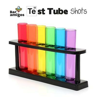 Test Tube Shooters Set of 6 with Stand Colourful Plastic Shot Glasses Neon 50ml