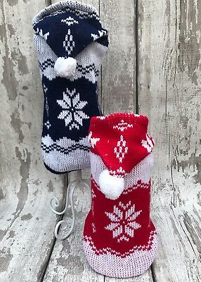 Christmas Xmas Winter Pet Clothes - Dog Cat Snowflake Sweater Jumper Knit Hoody • EUR 7,10