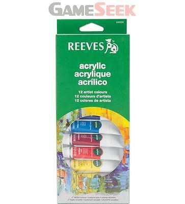 Reeves 12 Acrylic Tube Set - Arts And Crafts Acrylic Painting Brand New