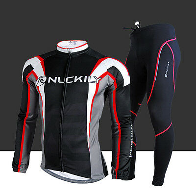 Cycling Bike Bicycle Clothes Men Suit Long Sleeve Jersey Pant Set Thermal Fleece