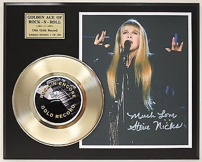 Stevie Nicks - 24k Gold Record & Reprinted Autographed Photo - USA Ships Free