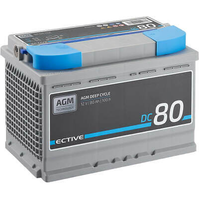 ECTIVE EDC80 AGM Deep Cycle 12V 80Ah Bleiakku Vlies-Batterie VRLA Batterie