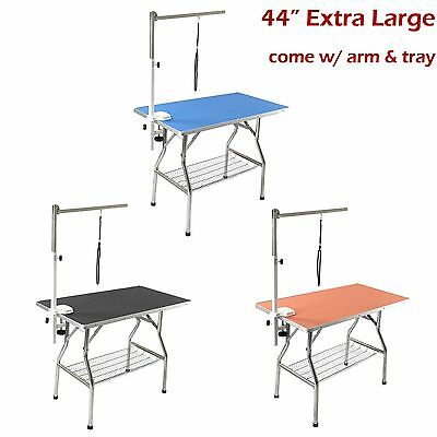"44"" Large Stainless Steel Heavy Duty Pet Dog Folding Grooming Table w/ Arm Tray"