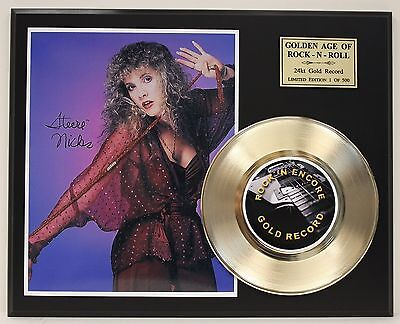 Stevie Nicks - 24k Gold Record & Reprinted Autographed Photo - Free USA Shipping