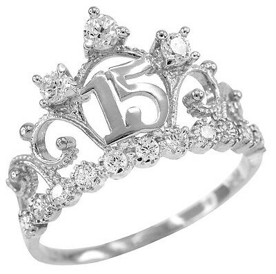 White Gold Quinceanera 15 Anos Conora CZ Crown Ring