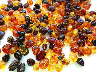 10 Grams Multicolored Baltic Amber Loose Beads With Holes about 160-180 beads