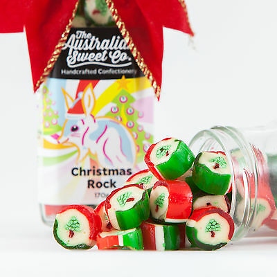 Christmas Peppermint Rock Candy boiled Bulk Lollies Australian Made Party