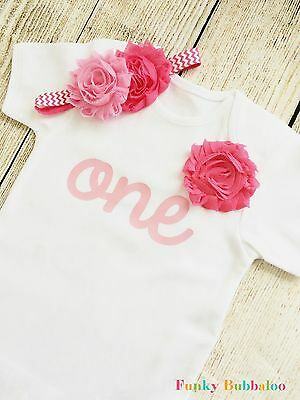 Birthday Outfit 0-6yrs Top & Optional Headband First Bodysuit Baby Girl Flower