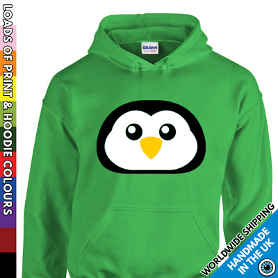 Kids Christmas Penguin Hoodie - Cute Face Xmas Party Night Out Boys & Girls Top