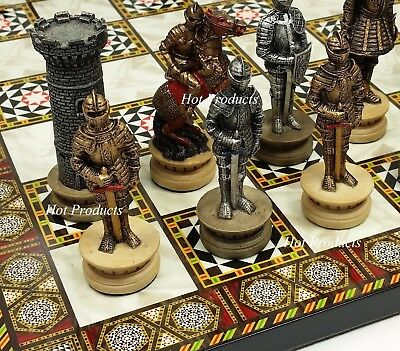 Medieval Times Crusades Armored Warrior Knight Chess Set Mosaic Design Board 14'