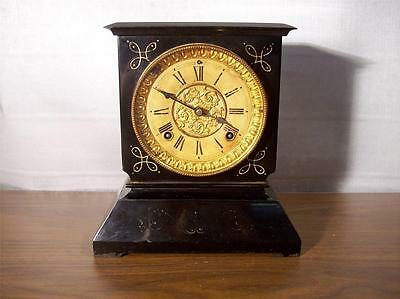 Antique Ansonia Iron Case 8 Day Mantle Clock ~ In Running Condition ~