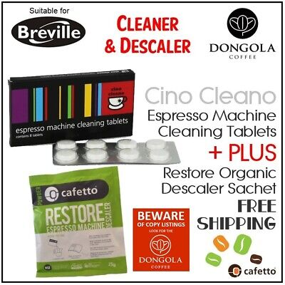 BREVILLE Espresso Coffee Machine Cleaner Cleaning Tablets + Organic Descaler
