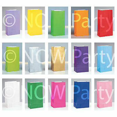 PAPER PARTY BAGS Birthday Christmas Colour Gift Treat Sweet Candy Loot Bag