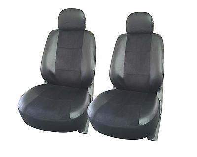 2 front car seat cover Leather semi custom for Toyota 168 Black