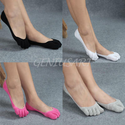 2 Pairs Ladies Sub-toe Ankle Five Finger No Show Invisible Cotton Sports Socks