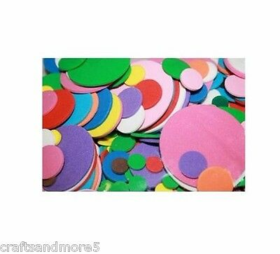 100 Foam Circles ~ 9mm to 40mm ~ Various Colours & Sizes