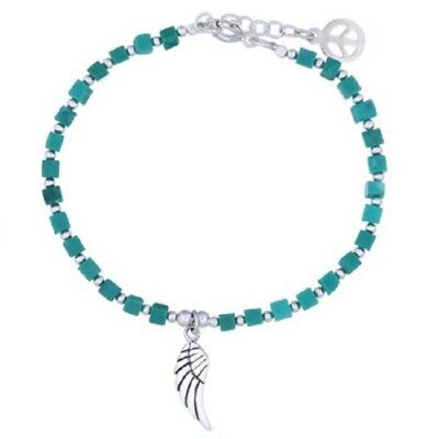 Silver bracelet 925 sterling Cubic Turquoise gemstone beads Wing silver charm
