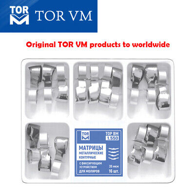 Dental Metal Contoured Matrices for Molars Combined with Clamp, 16 pcs. TOR VM