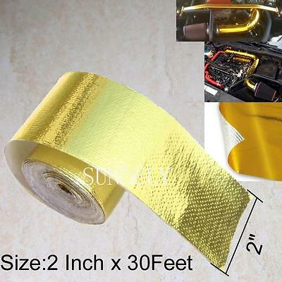 """2""""x30' Roll Self Adhesive Reflective Gold High Temperature Heat Shield Wrap Tape"""