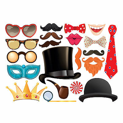 21 piece Party Photo Booth Props for Wedding Birthday -Set 1 Gold MADE IN THE UK