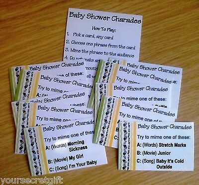 CHARADES Baby Shower Game. Up to 30 phrases to play: Movies, Songs or Baby Words