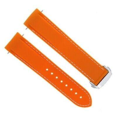 22Mm Rubber Band Strap Clasp For Omega Seamaster Planet Ocean Orange Ws #45Dp