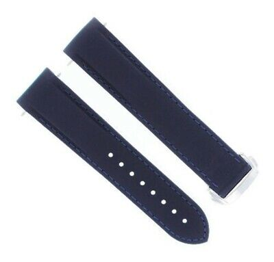 22Mm Rubber Watch Band Strap Clasp For 45Mm Omega Seamaster Planet Blue Bs #45Dp