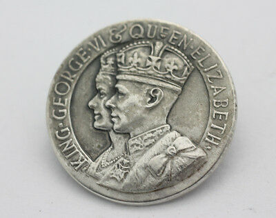 Sterling Silver .925 King George VI and Queen Elizabeth Pin Brooch 6.4g G145