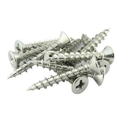 "100 Pack #7 x 1"" Coarse Deep Thread Flat Head Screws Nickel Plated Wood MDF"