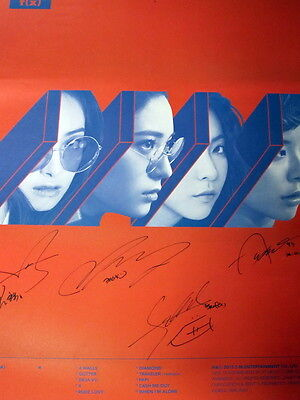 FX F(X)Autographed 2015 4th album 4 Walls poster  Red  version new korean 112015