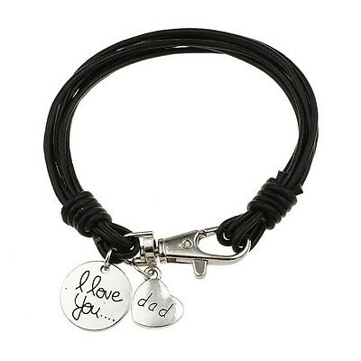 Real Leather Wristband  Bracelet 'I Love You Dad', Mens Dads Fathers Daddy Gift