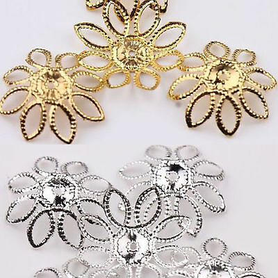 50 Gold Silver Plated Filigree Hollow Flower Bead Cap Jewellery Finding 20MM DIY